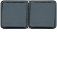 Double prise 2P+T horizontale grise complète saillie Cubyko