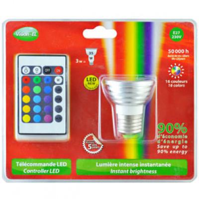 ampoule led rgb 3w e27 t l commande ampoule led couleur ampoule led ampoules eclairage. Black Bedroom Furniture Sets. Home Design Ideas