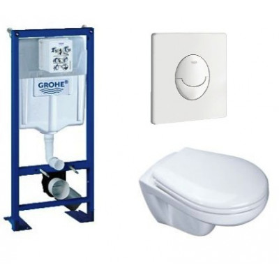 lot complet b ti support grohe cuvette et abattant standard wc suspendu espace toilettes. Black Bedroom Furniture Sets. Home Design Ideas
