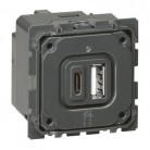 Module de charge double USB Céliane typeA et typeC 3A - 067465 - Legrand