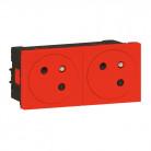 Double prise de courant 2P+T Surface Mosaic Link raccordement latéral 4 modules - rouge