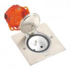 Prise de sol inox étanche IP 44 avec clapet de protection + boite à encastrer 092110 Legrand