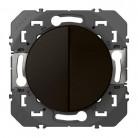 Double interrupteur ou va-et-vient dooxie 10AX 250V~ finition Noir