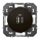 Double chargeur USB 1 TypeA + 1 TypeC dooxie 3A finition Noir 095288 Legrand