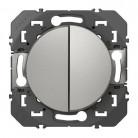 Double interrupteur ou va-et-vient dooxie 10AX 250V~ finition aluminium - 600102 - Legrand