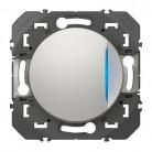 Poussoir simple avec voyant lumineux dooxie 6A 250V~ finition alu - 600116 - Legrand