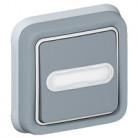 Poussoir porte-étiquette lumineux Plexo complet encastré - Gris