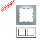 Plaque 2 postes horizontale Pop - Titane