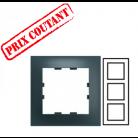 Plaque 3 postes verticale Pop - Carbone