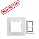 Plaque 2 postes verticale monochrome - Blanc névé - Hager - WKN808