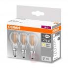 PACK de 3 Ampoules LED Filament Sphérique 4-40W 2700K E14