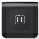 Prise double USB A Noir - Mosaic