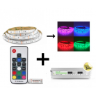 Bandeau LED 5m RGB 72W Kit complet (16 couleurs) IP65