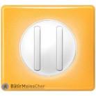 Double poussoir étroit Céliane blanc - Plaque Today jaune