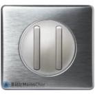 Va et vient + poussoir doigt étroit Céliane titane - Plaque aluminium