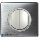 Va et vient + Poussoir Céliane titane - Plaque Aluminium
