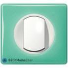 Bouton poussoir Céliane blanc - Plaque 50's turquoise