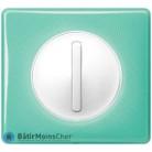 Poussoir doigt étroit Céliane blanc - Plaque 50's turquoise