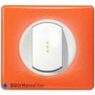 Bouton poussoir voyant lumineux Céliane blanc - Plaque 70's orange