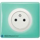 Prise Céliane Surface blanc - Plaque 50's turquoise