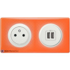 Prise Surface + prise double chargeur USB Céliane blanc - Plaque 70's orange