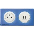 Prise de courant + double chargeur USB Céliane blanc - Plaque 90's violette