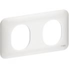 Plaque 2 postes horizontaux Ovalis - Blanc - Schneider - S260704