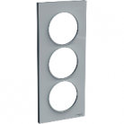 Plaque 3 postes Odace Styl entraxe 57mm - Gris pierre