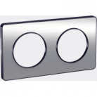 Plaque 2 postes Odace Touch - Aluminium brossé
