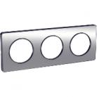 Plaque 3 postes Odace Touch - Aluminium brossé