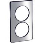 Plaque 2 postes Odace Touch entraxe 57mm - Aluminium brossé