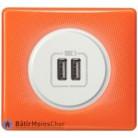 Prise double chargeur USB Céliane blanc - Plaque 70's orange