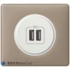 Prise chargeur USB Céliane blanc - Plaque Grès