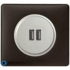 Prise double chargeur USB Céliane titane - Plaque Basalte