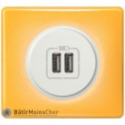 Prise double chageur USB Céliane blanc - Plaque Today jaune