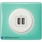 Prise double chargeur USB Céliane blanc - Plaque 50's turquoise