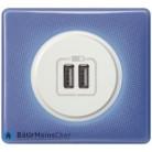 Prise double chargeur USB Céliane blanc - Plaque 90's violette