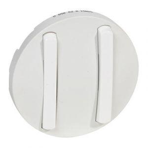 Enjoliveur double interrupteur doigt étroit - Blanc