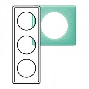 Plaque 3 postes Céliane 50's turquoise