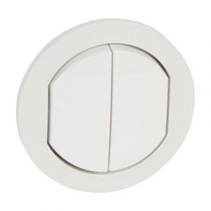 Enjoliveur va et vient / poussoir double - IP44 - Blanc