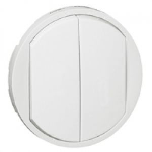Enjoliveur double interrupteur doigt large - Blanc