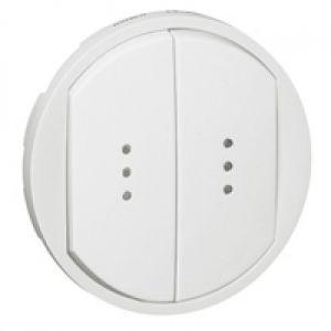 Enjoliveur double interrupteur à voyant - Blanc