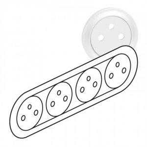 Enjoliveur prise quadruple Surface précâblée compacte - Blanc