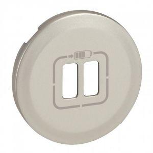 Enjoliveur prise double pour chargeur USB - Titane