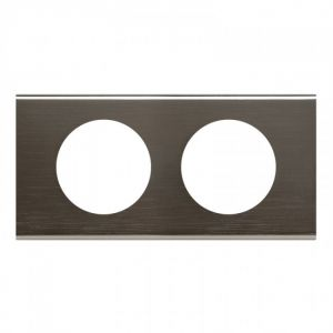 Plaque 2 postes Céliane Black Nickel