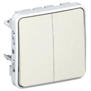 Double interrupteur ou va-et-vient Plexo composable IP55 10AX 250V - blanc