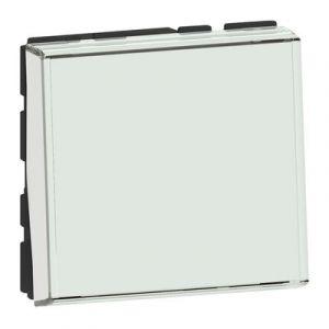 Poussoir ou poussoir inverseur avec porte-étiquette Mosaic Easy-Led 6A 250V~ 2 modules - blanc antimicrobien