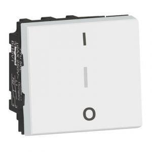 Interrupteur bipolaire avec borne pour repiquage neutre 16AX 250V~ Mosaic 2 modules – blanc