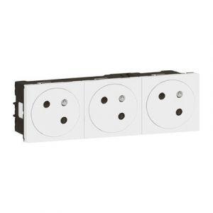 Triple prise de courant 2P+T Surface Mosaic Link raccordement latéral 6 modules - blanc