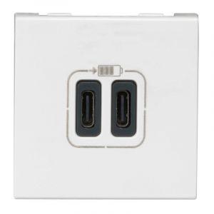 Chargeur 2 USB Type-C 3A 15W Mosaic 2 modules 230V ou 5V= - blanc
